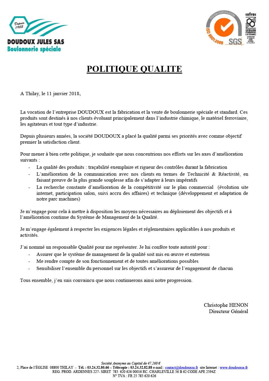 Politique Qualité - Doudoux sa, fabricant Français ...
